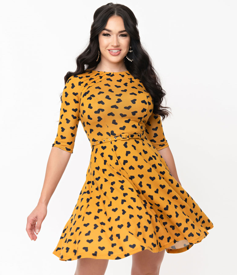Unique Vintage Mustard & Black Hearts Stephanie Fit & Flare Dress