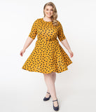 Unique Vintage Plus Size Mustard & Black Hearts Stephanie Fit & Flare Dress