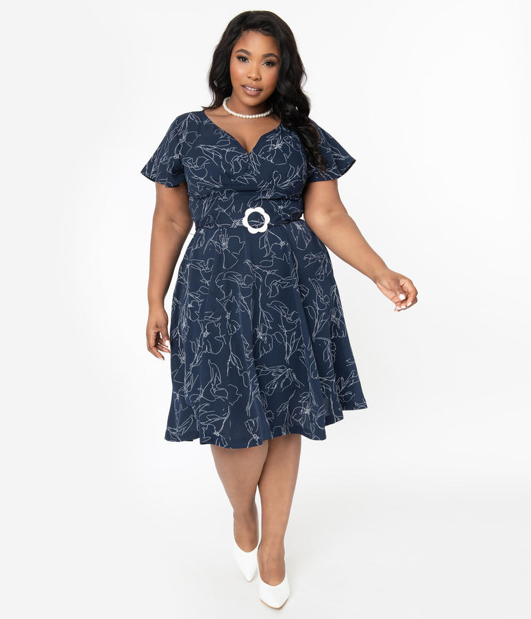 Unique Vintage Plus Size 1940s Navy & White Floral Outline Kay Swing Dress