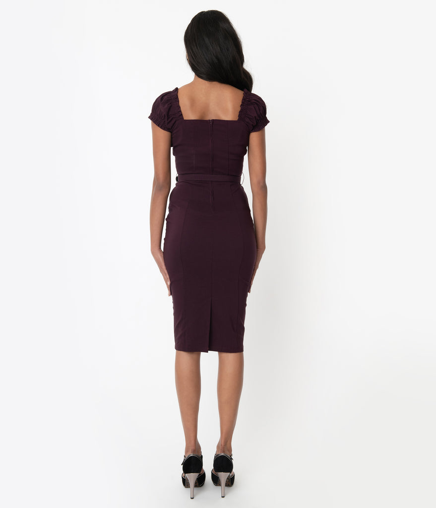 Unique Vintage 1960s Eggplant Joanie Wiggle Dress