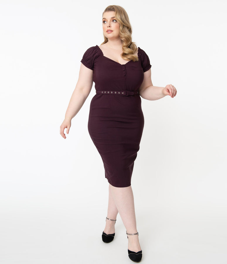 Unique Vintage Plus Size 1960s Eggplant Joanie Wiggle Dress