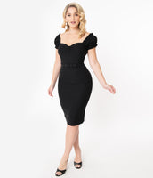 Off the Shoulder Fitted Belted Back Zipper Bardot Neck Sweetheart Pencil-Skirt Dress