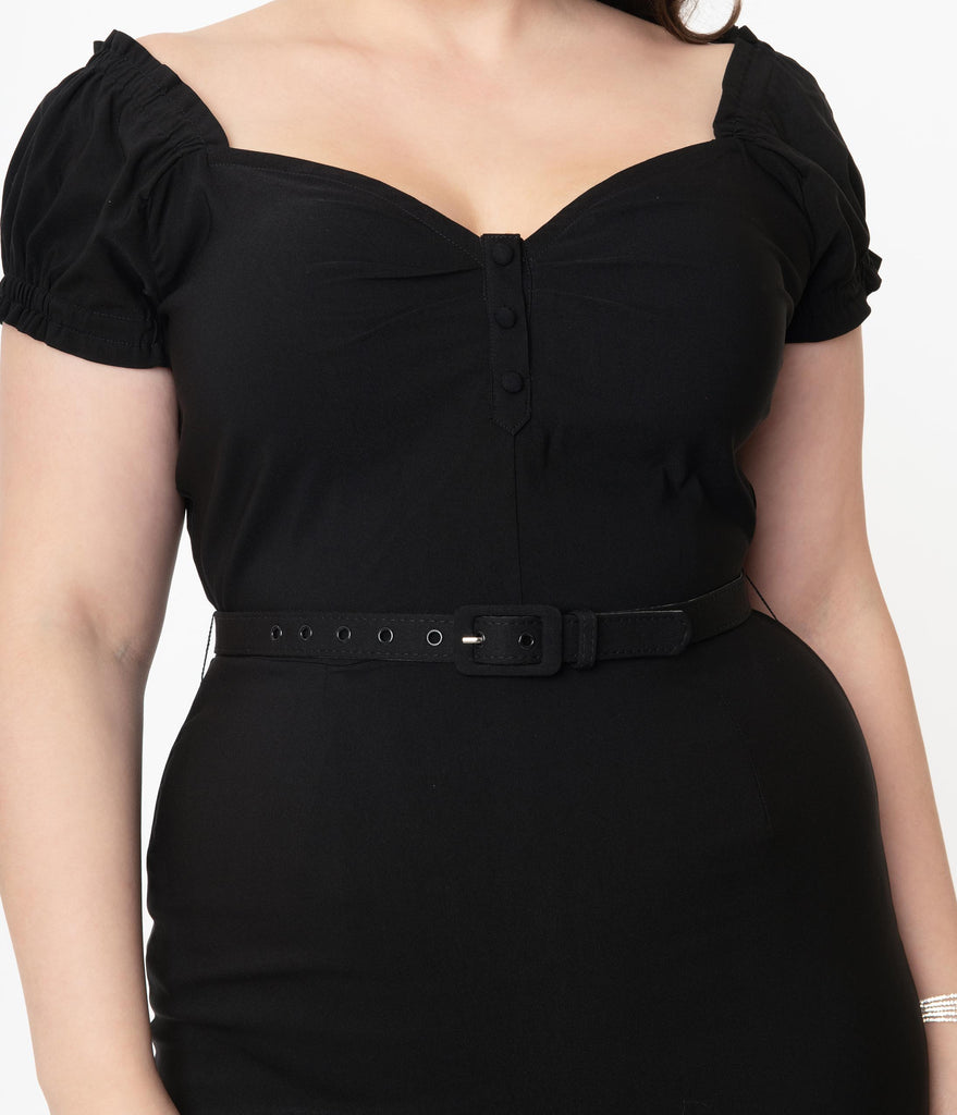 Unique Vintage Plus Size 1960s Black Joanie Wiggle Dress