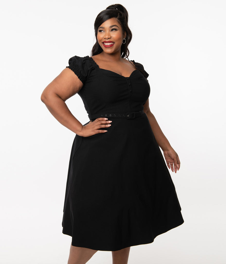 Unique Vintage Plus Size 1950s Black Ohara Swing Dress