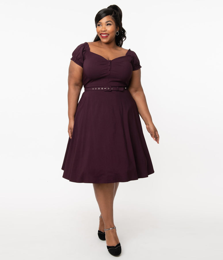 Unique Vintage Plus Size 1950s Eggplant Ohara Swing Dress