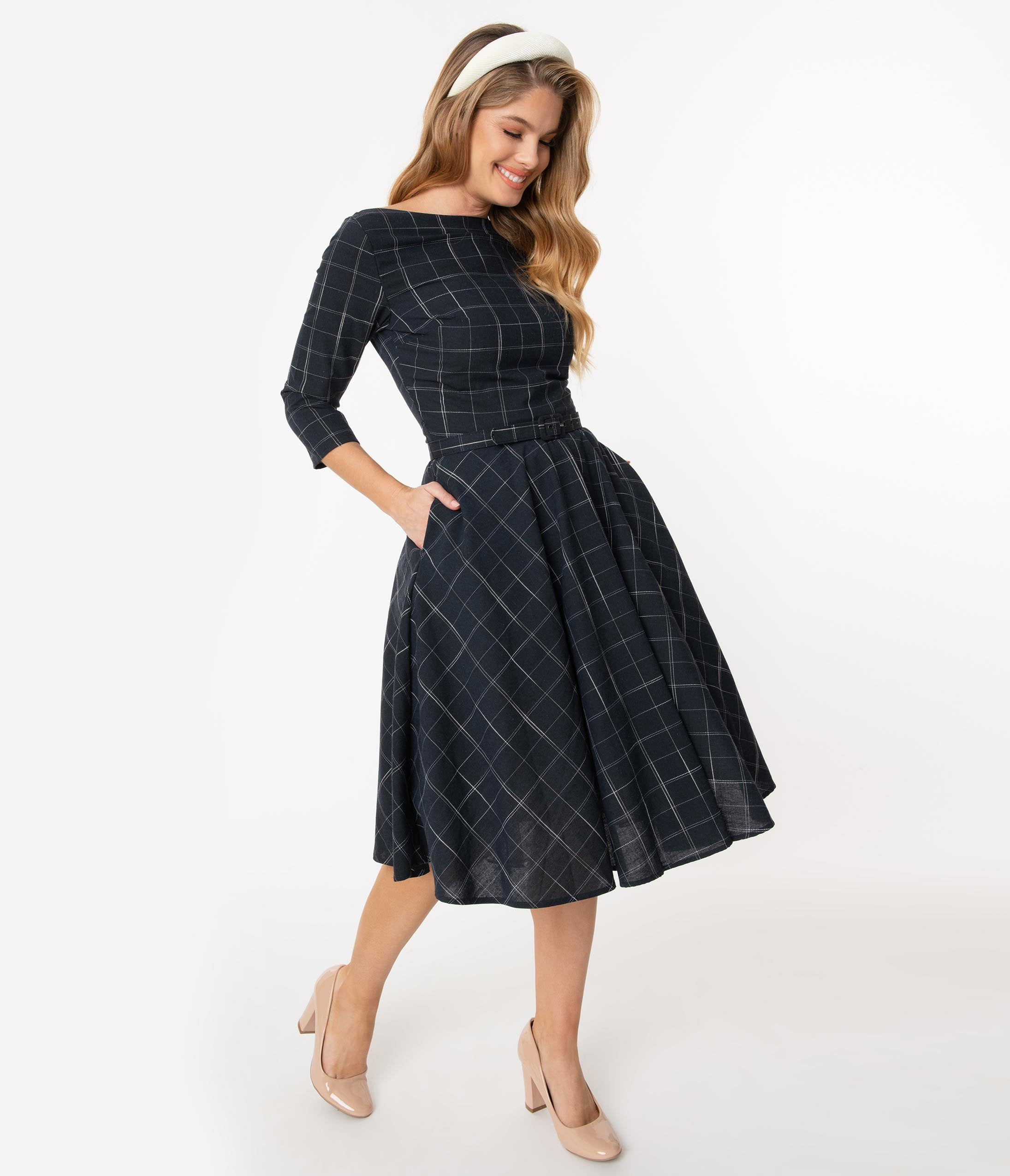 1960s Cocktail, Party, Prom, Evening Dresses Unique Vintage 1950S Navy Windowpane Devon Swing Dress $98.00 AT vintagedancer.com