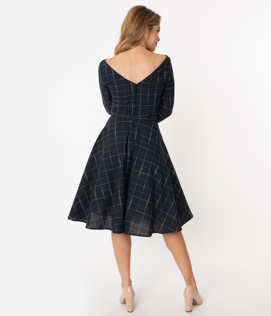 Unique Vintage 1950s Navy Windowpane Devon Swing Dress