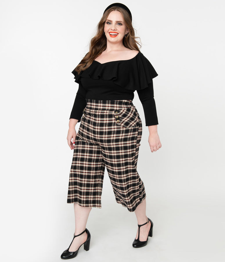 Unique Vintage Plus Size 1940s Black & Tan Plaid Ginger Culottes