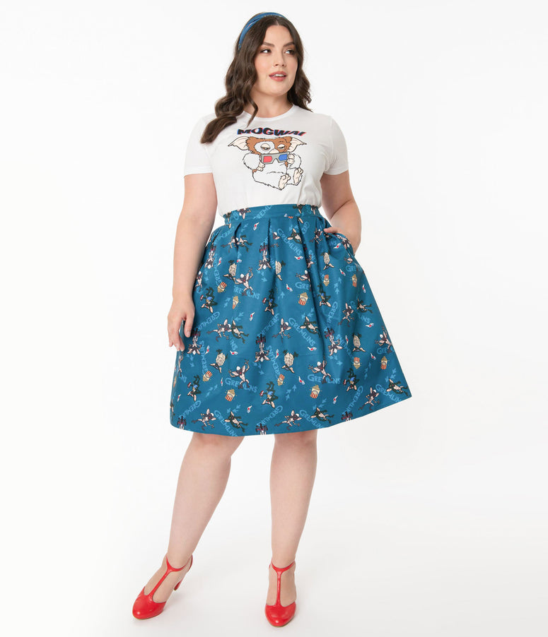 Gremlins x Unique Vintage Plus Size The First Batch Print Jayne Swing Skirt