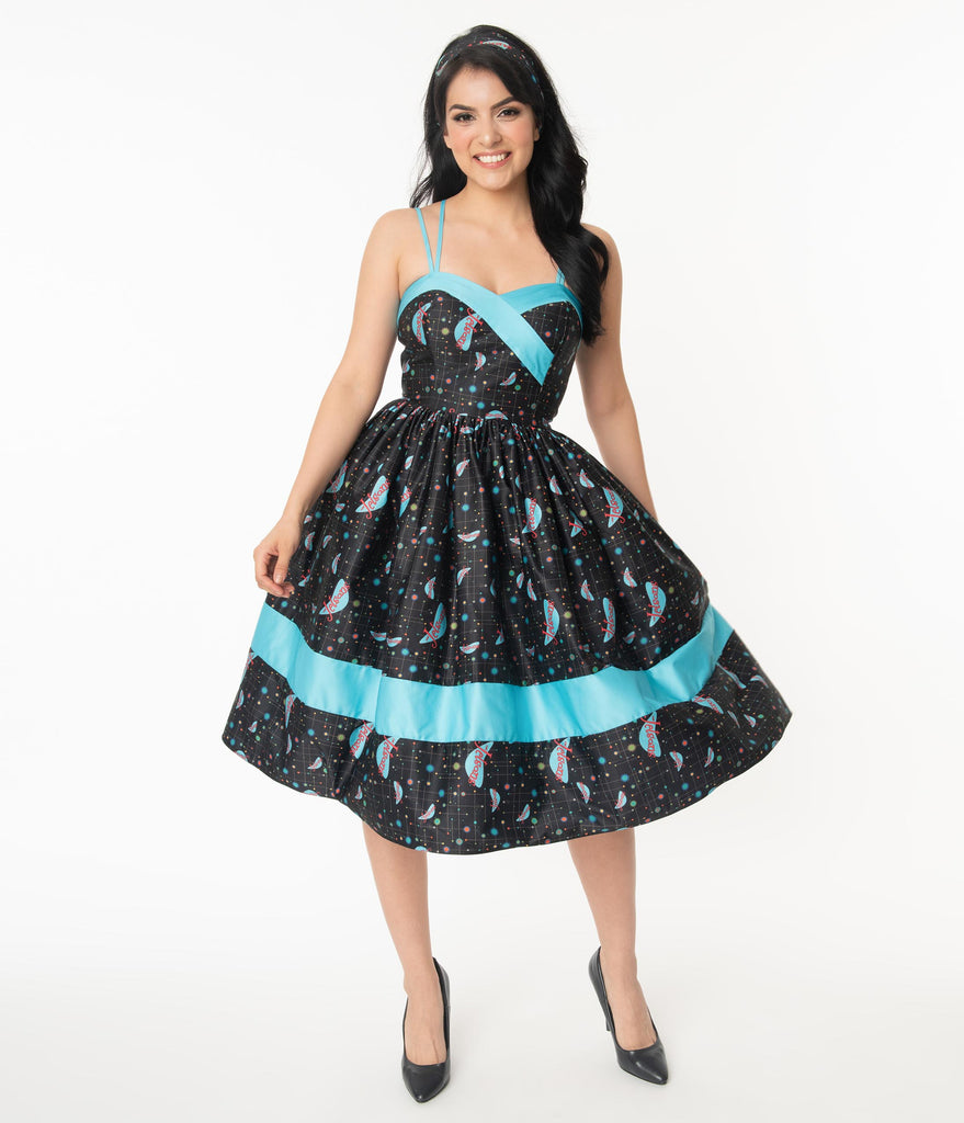 Jetsons x Unique Vintage Retro Cosmic Logo Darienne Swing Dress