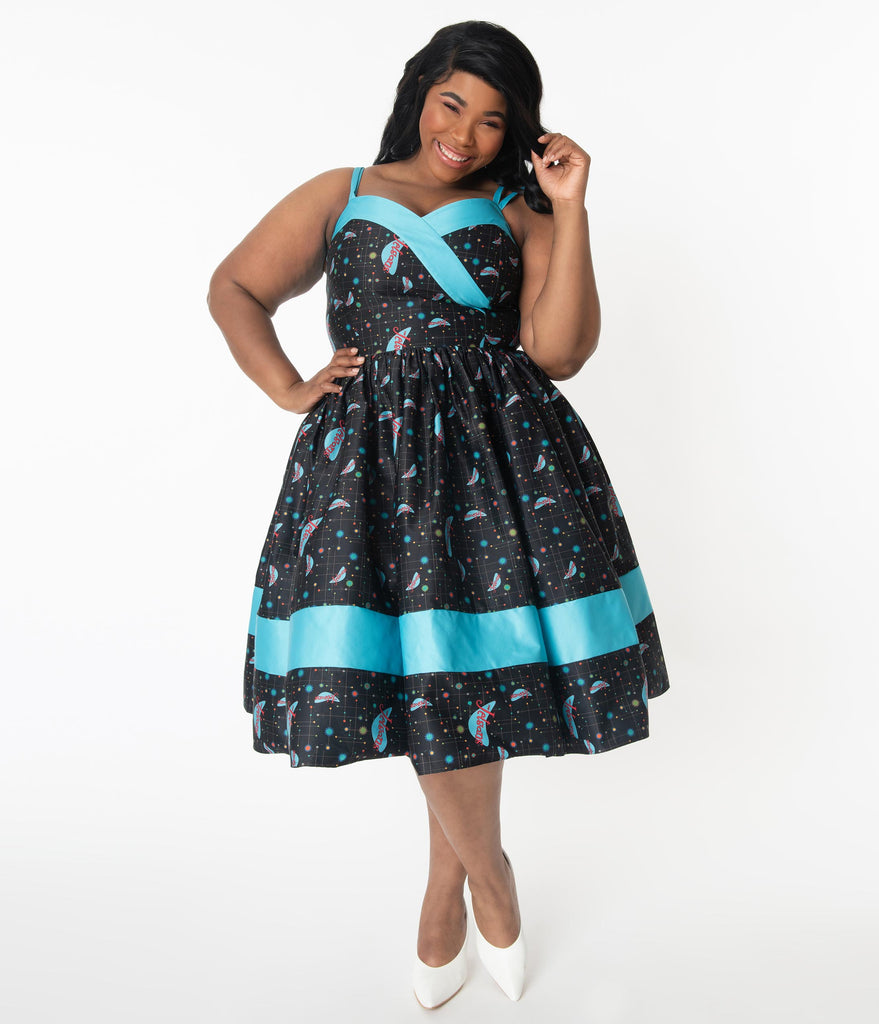 Jetsons x Unique Vintage Plus Size Retro Cosmic Logo Darienne Swing Dress