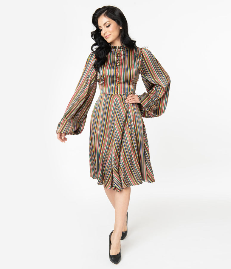 Unique Vintage 1950s Multicolor Stripe Satin Leota Swing Dress