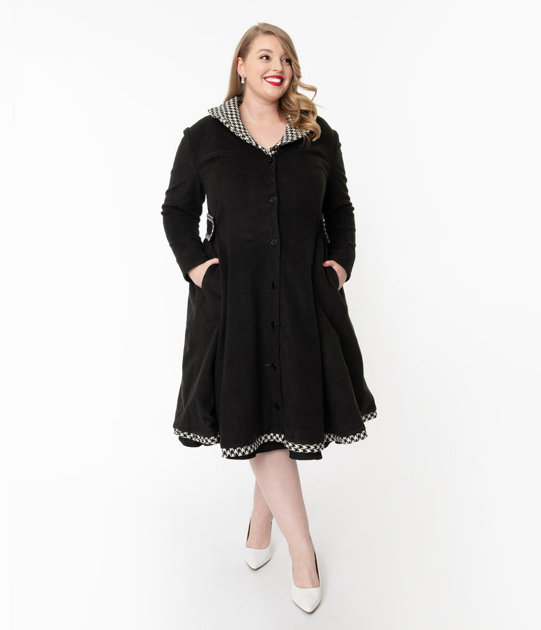 Unique Vintage Plus Size Black & Houndstooth Parkview Swing Coat