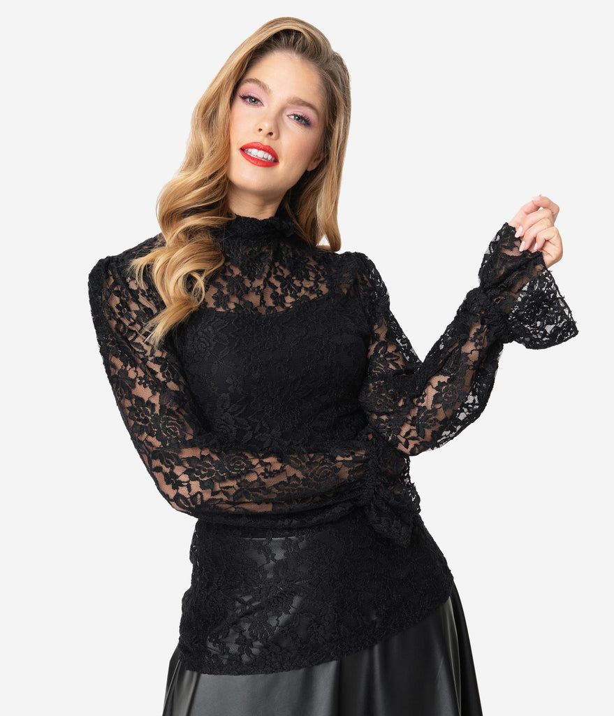 Unique Vintage 1940s Black Lace Ruff Collar Donna Blouse