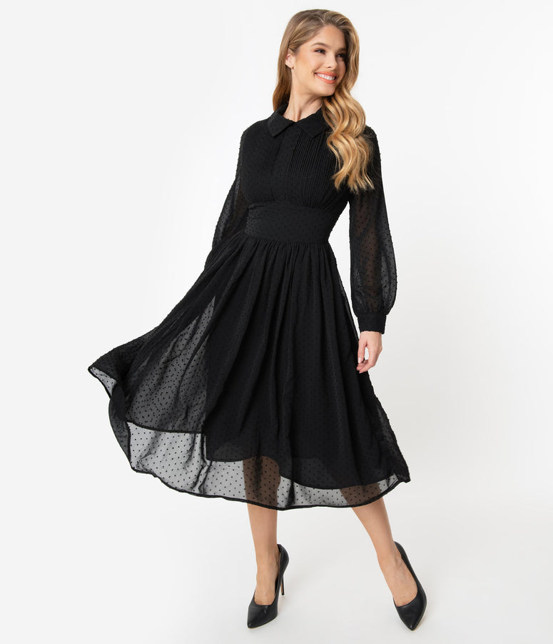 Unique Vintage 1940s Black Clip Dot Deirdre Shirt Dress