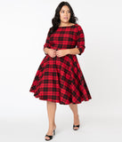 Unique Vintage Plus Size 1950s Black & Red Plaid Devon Swing Dress