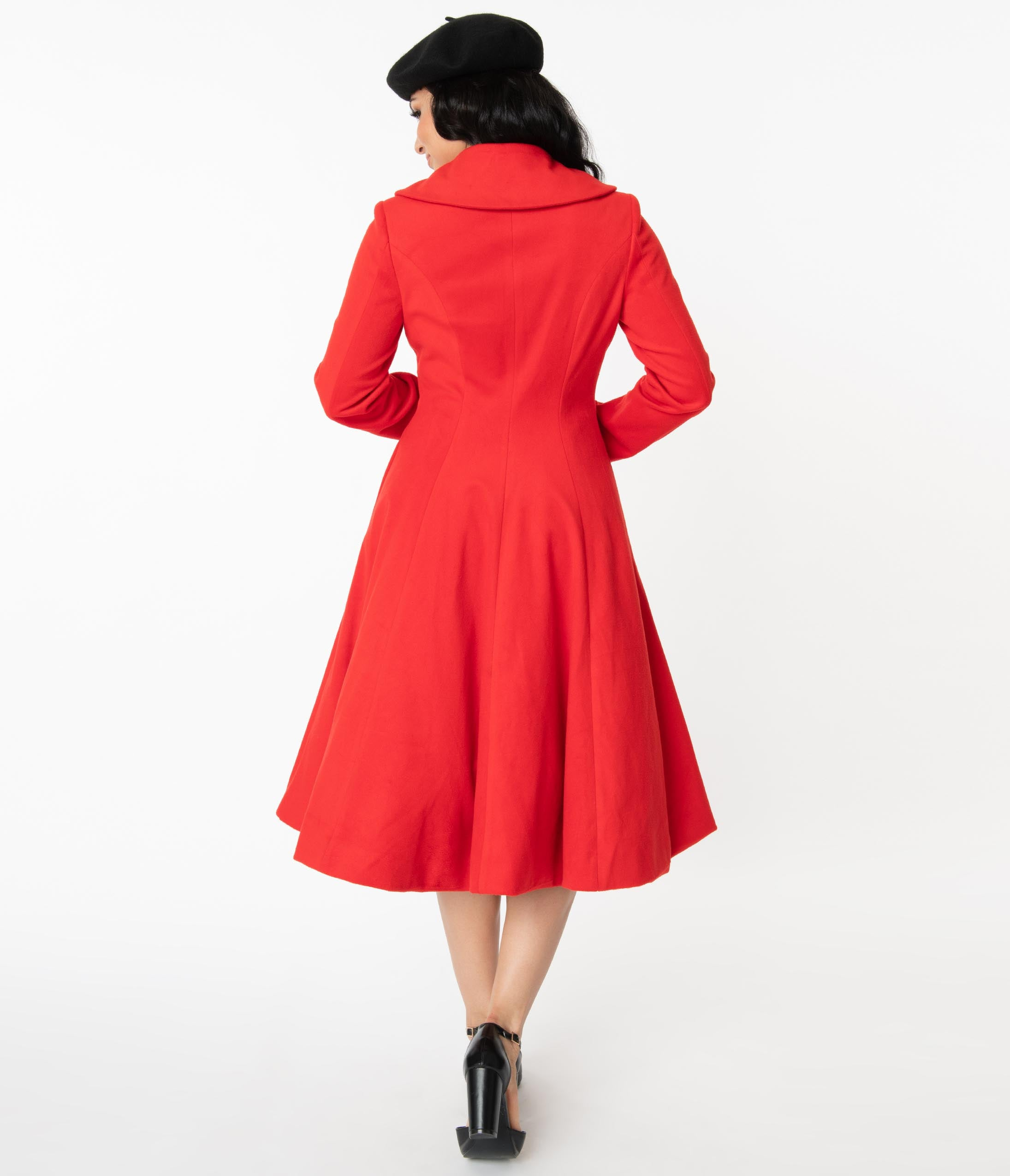 1950s Coats and Jackets History Unique Vintage 1950S Style Red Dorian Swing Coat $148.00 AT vintagedancer.com