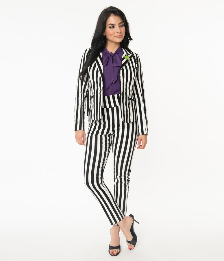 Beetlejuice x Unique Vintage Black & White Stripe Rizzo Cigarette Pants