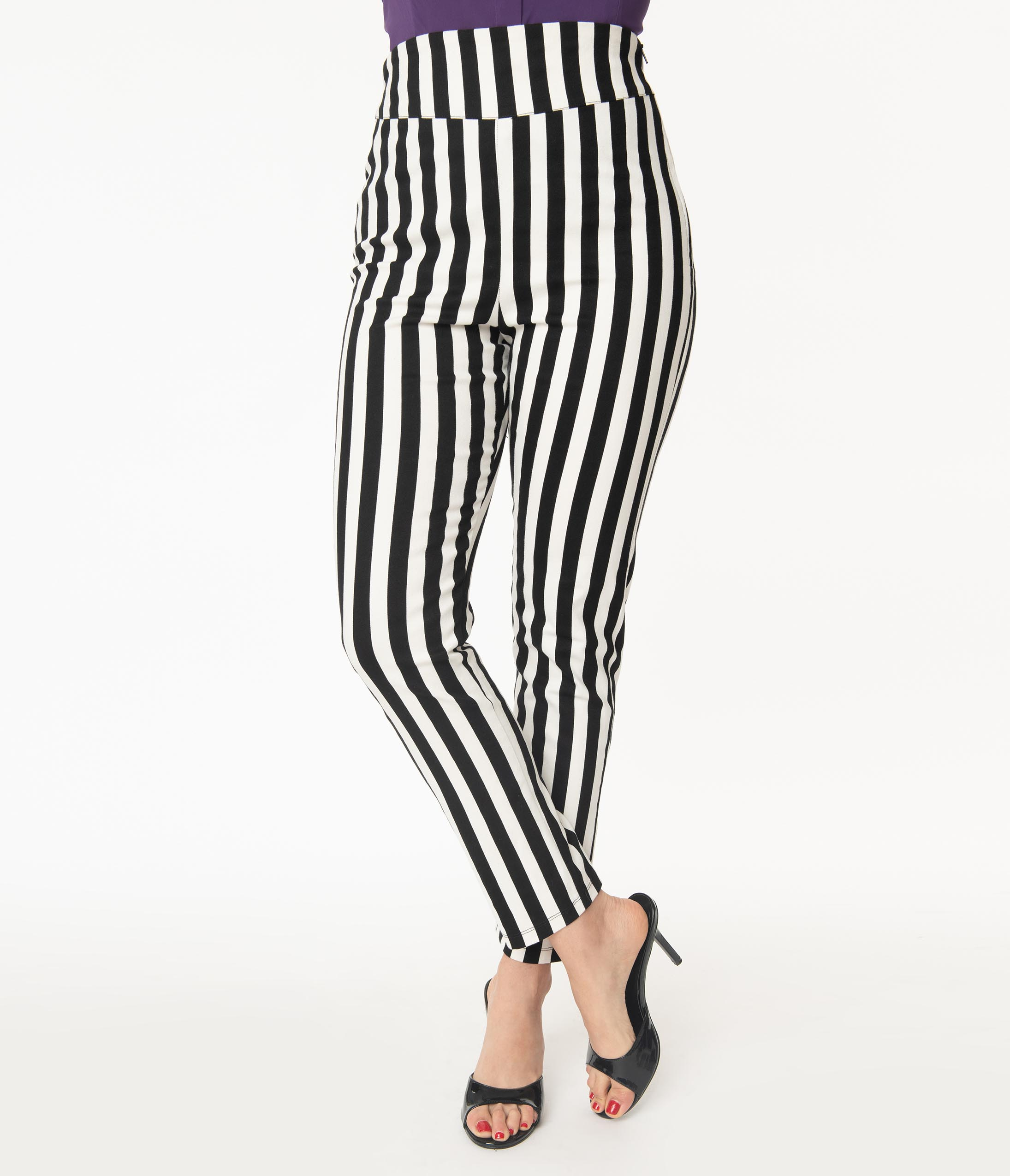 Beetlejuice X Unique Vintage Black White Stripe Rizzo Cigarette Pant