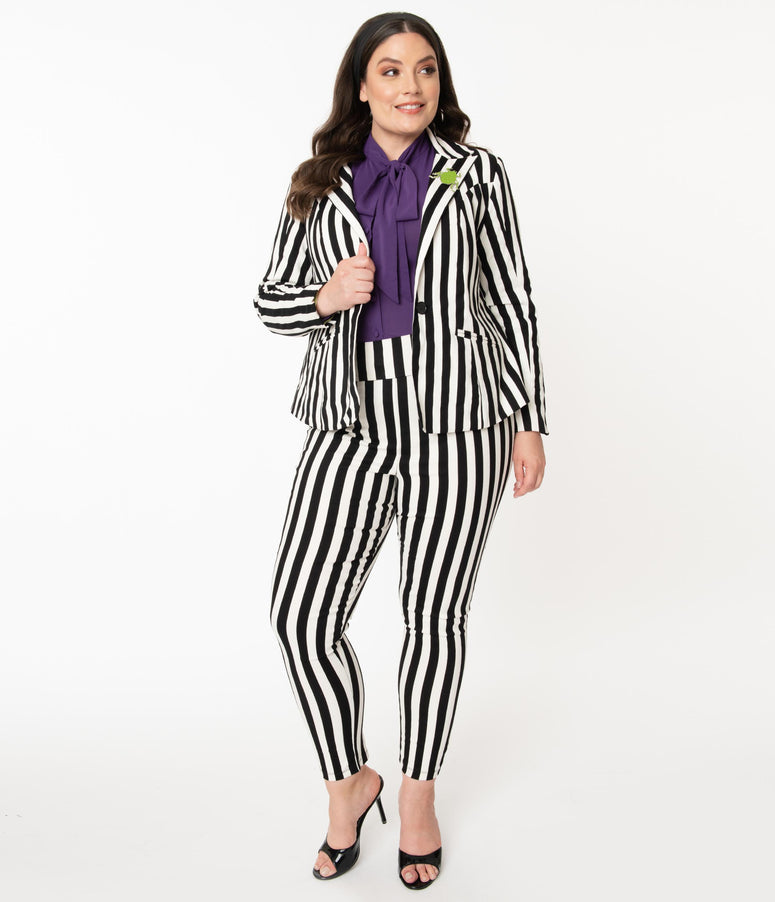 Beetlejuice x Unique Vintage Plus Size Black & White Stripe Rizzo Cigarette Pants