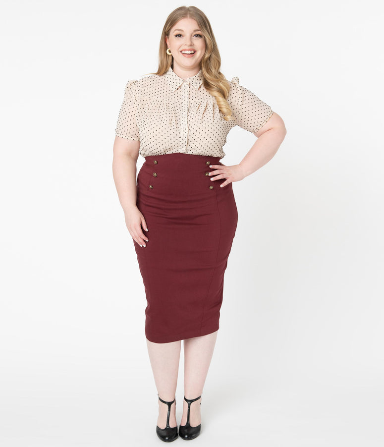 Unique Vintage Plus Size Burgundy Sailor High Waist Sierra Pencil Skirt
