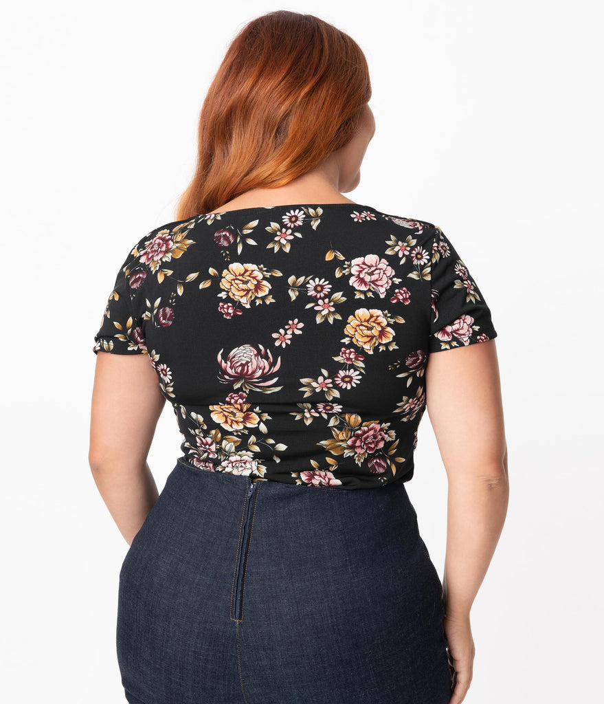 Unique Vintage Plus Size Black & Multi Floral Sweetheart Ruthie Top