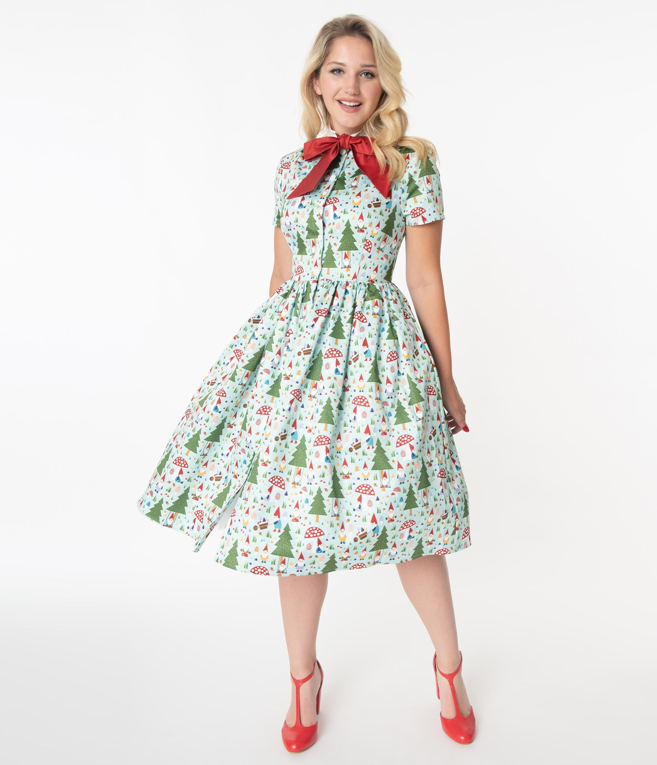 Vintage Style Dresses | Vintage Inspired Dresses Unique Vintage 1950S Forest Gnome Scene Cora Swing Dress $110.00 AT vintagedancer.com