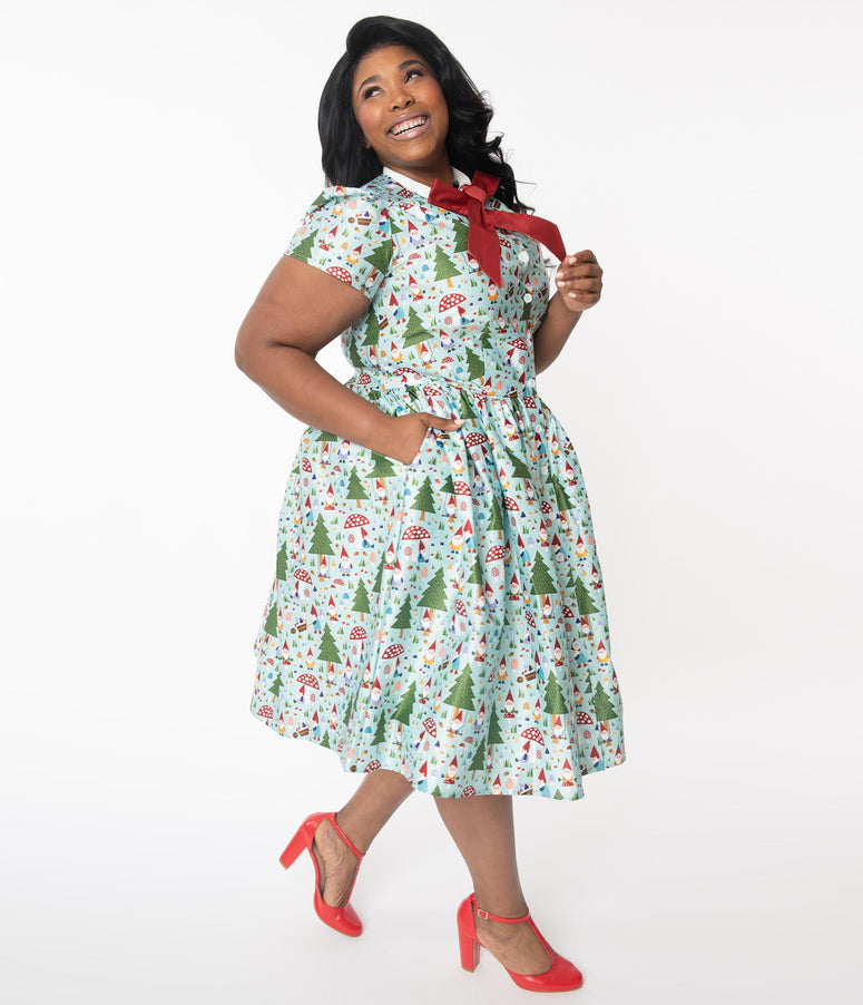 Unique Vintage Plus Size 1950s Forest Gnome Scene Cora Swing Dress