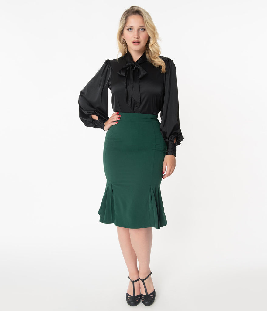 Unique Vintage 1940s Emerald Mina Trumpet Skirt