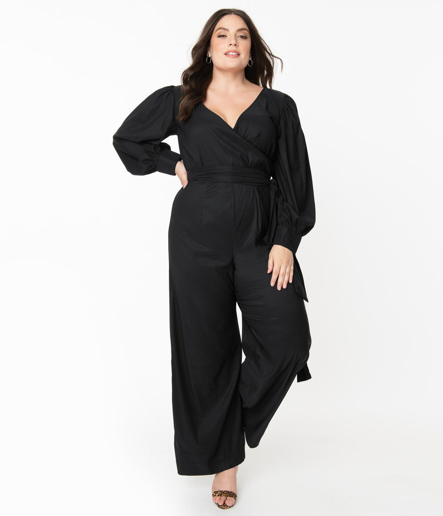 Unique Vintage Plus Size 1970s Black Clayton Jumpsuit