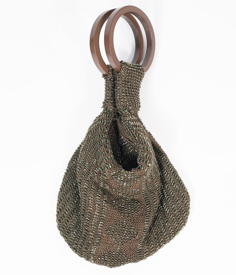 Deco Style Dark Olive Beaded Satchel Bag