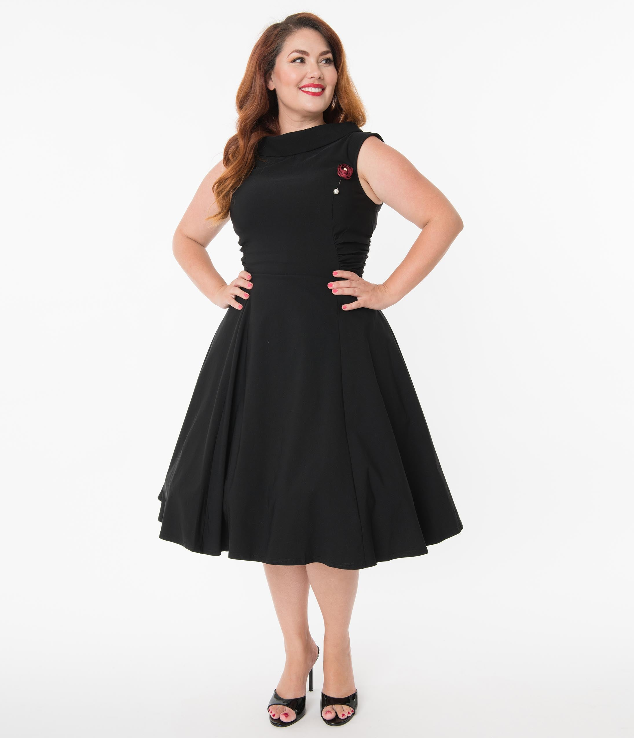 60s 70s Plus Size Dresses, Clothing, Costumes Unique Vintage Plus Size 1950S Black Eliza Swing Dress $78.00 AT vintagedancer.com