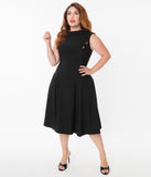 Unique Vintage Plus Size 1950s Black Eliza Swing Dress