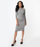 Modest Pencil-Skirt High-Neck 3/4 Sleeves Plaid Print Fitted V Back Back Zipper Belted Dress
