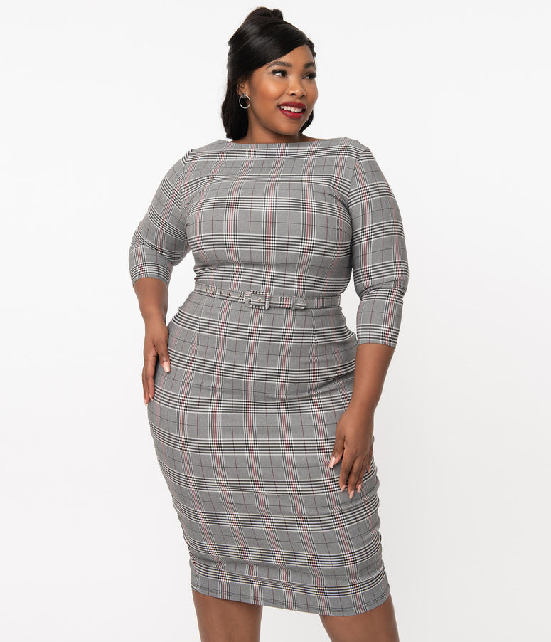 Unique Vintage Plus Size 1960s Glen Plaid Jaqueline Pencil Dress