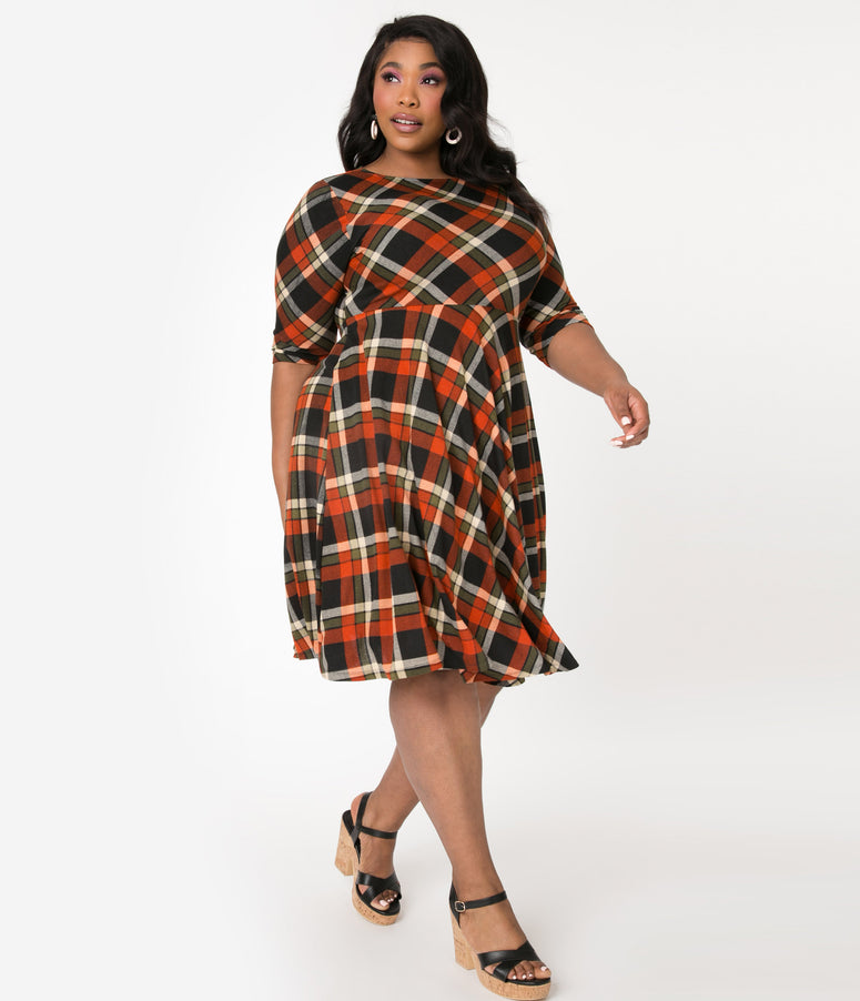 Unique Vintage Plus Size 1950s Orange & Black Plaid Nicole Swing Dress