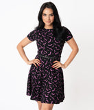 Unique Vintage Black & Purple Bats Short Sleeve Stephanie Flare Dress