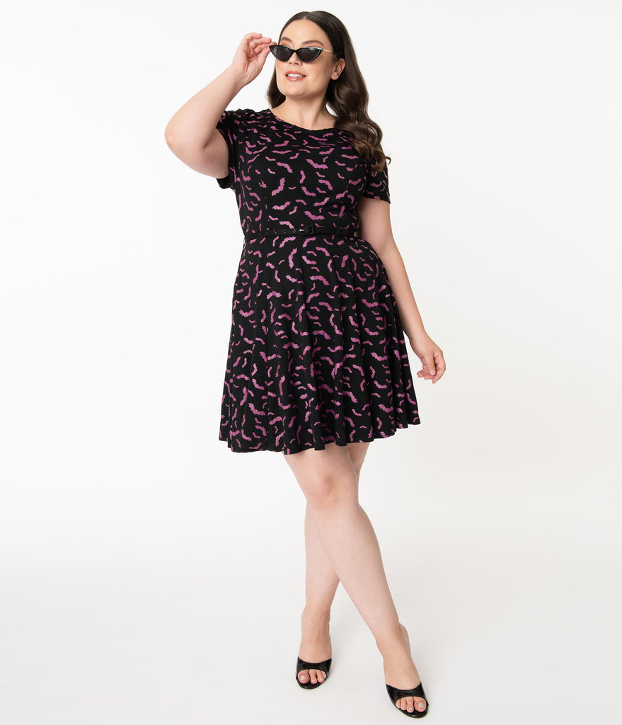 Unique Vintage Plus Size Black & Purple Bats Short Sleeve Stephanie Flare Dress
