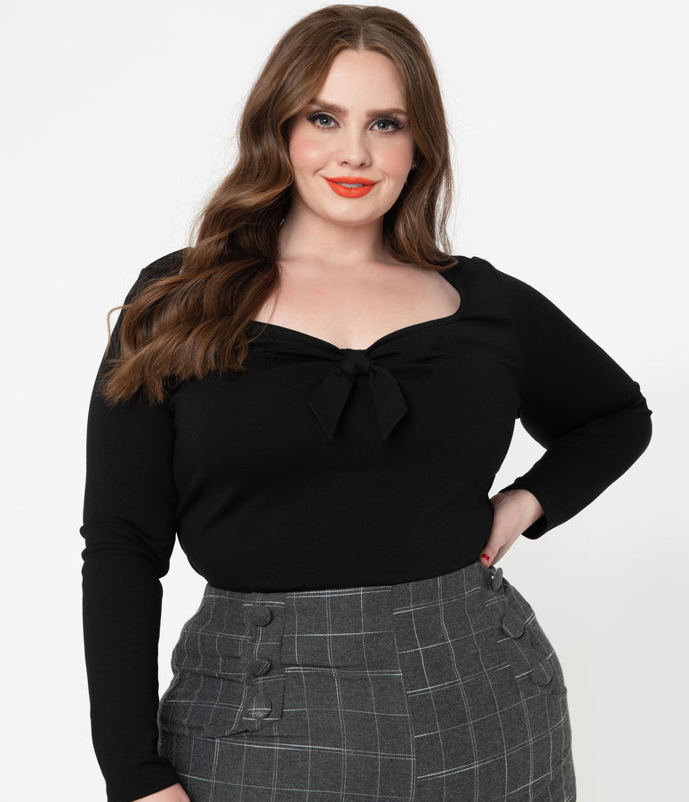 Unique Vintage Plus Size Black Maxine Top