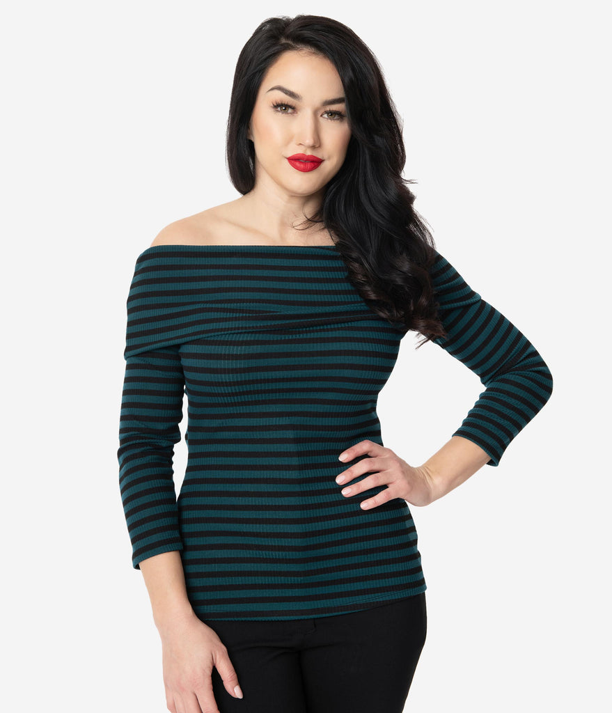 Unique Vintage Dark Teal & Black Stripe Nina Top