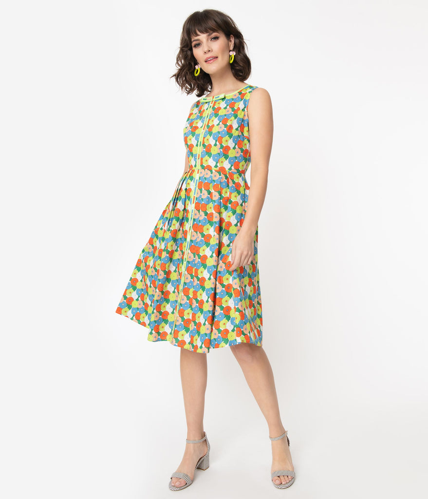 1960s Multicolor Vintage Floral Samantha Swing Dress