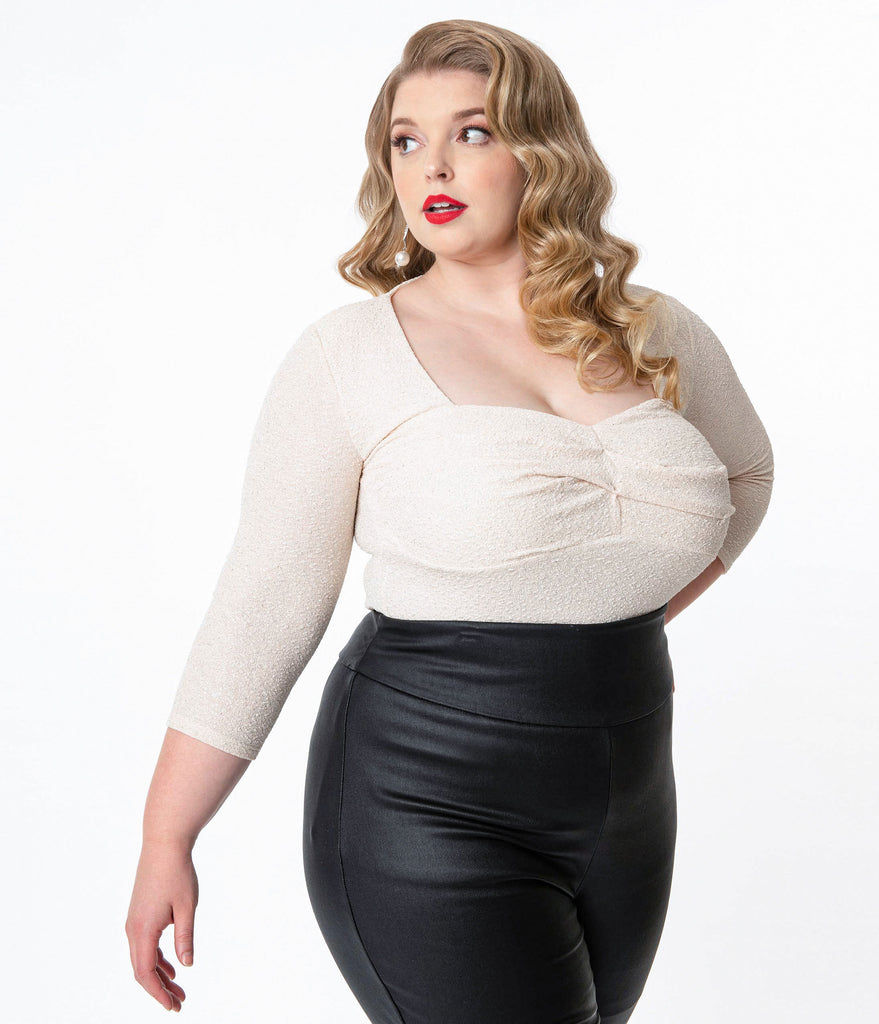 Unique Vintage Plus Size Silver Sparkle Davies Top