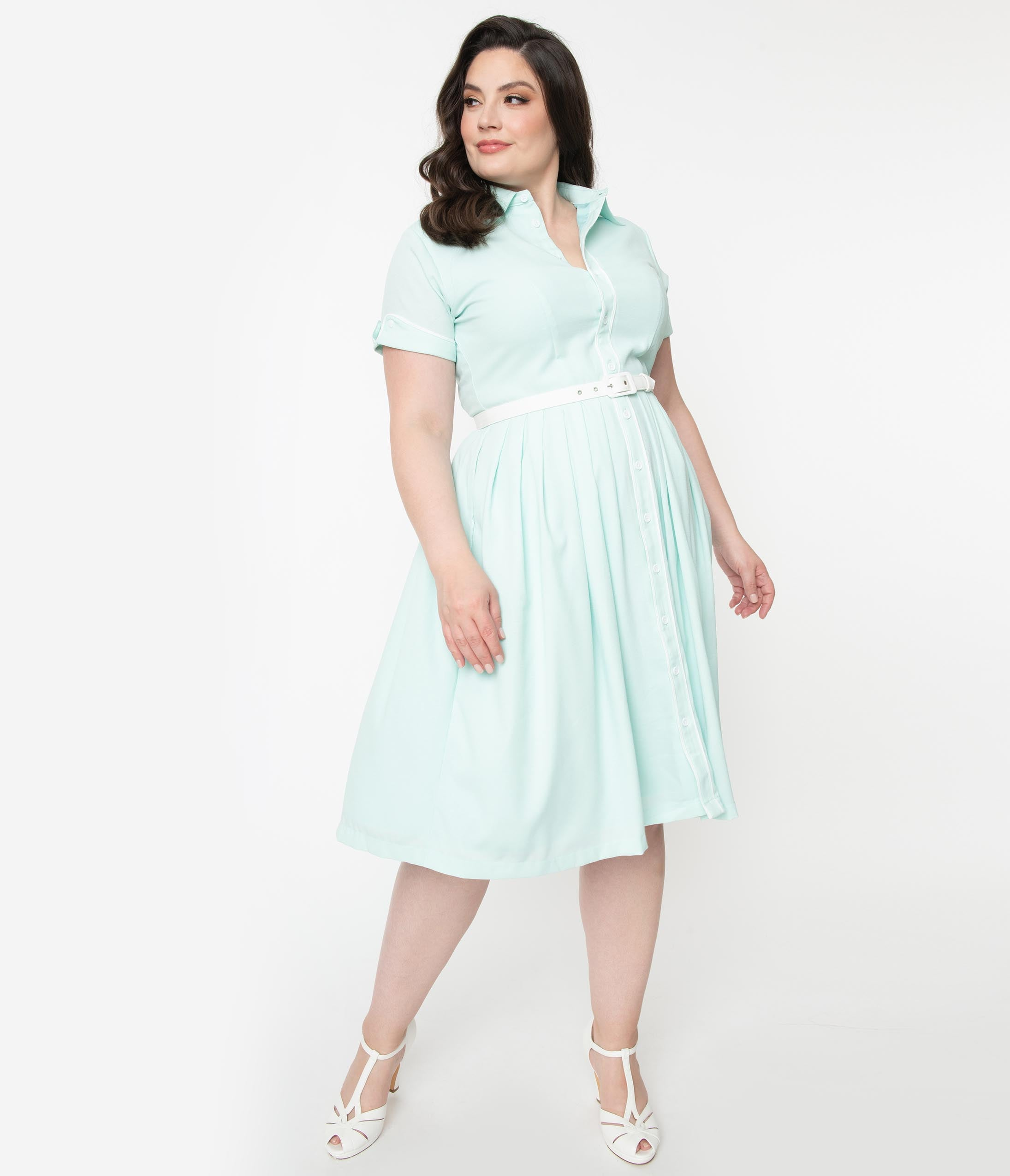 1950s Plus Size Dresses, Swing Dresses Plus Size 1950S Style Sky Blue Mint Swing Dress $118.00 AT vintagedancer.com