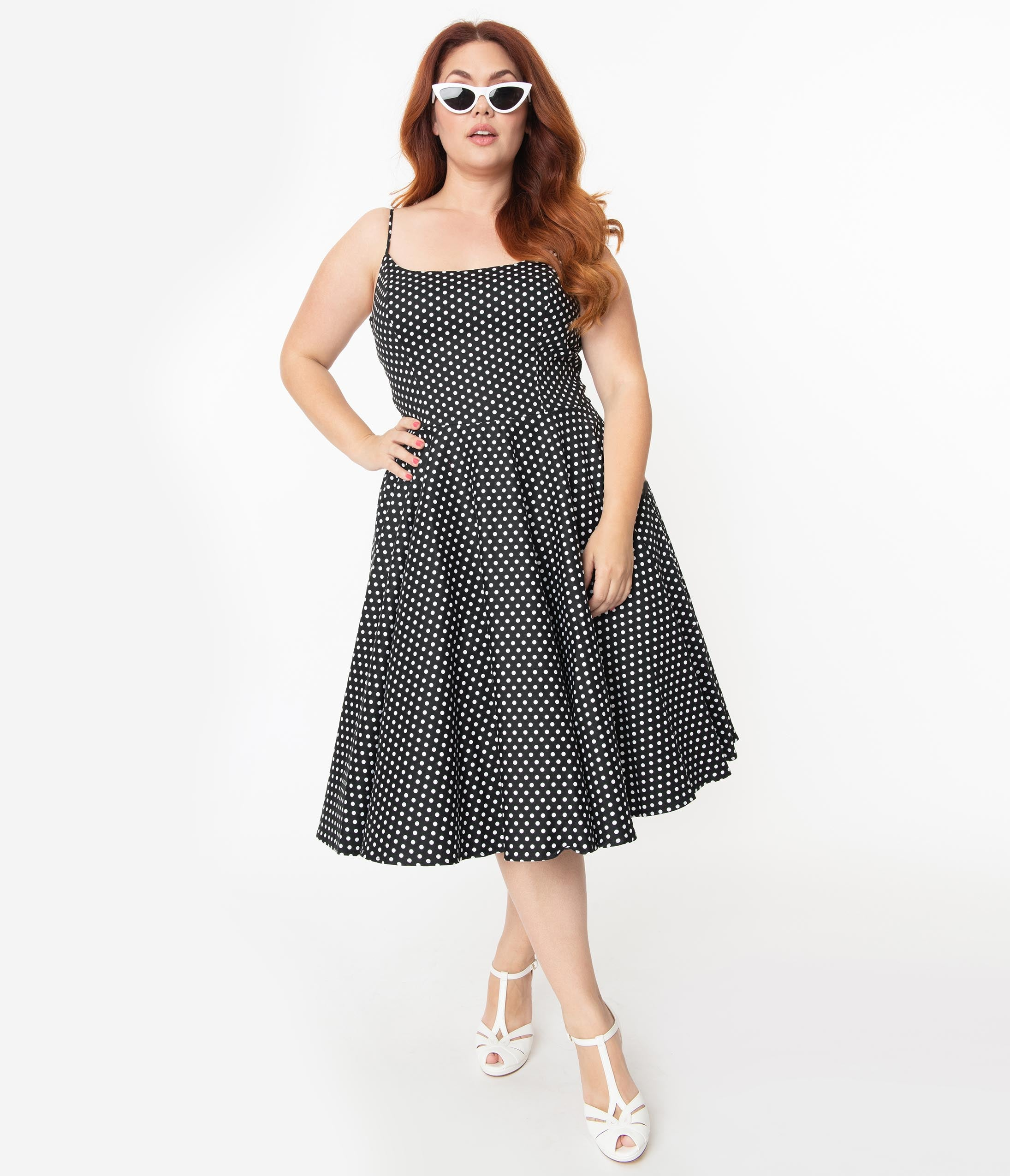1950s Dresses, 50s Dresses | 1950s Style Dresses Plus Size 1950S Black  White Polka Dot Sleeveless Peggy Swing Dress $98.00 AT vintagedancer.com