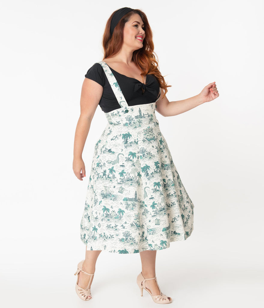 Plus Size 1950s Style Neverland Print Jumper Circle Skirt