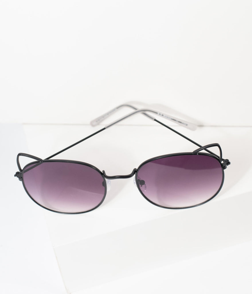 Black Metal Cat Ear Meow Rounded Sunglasses