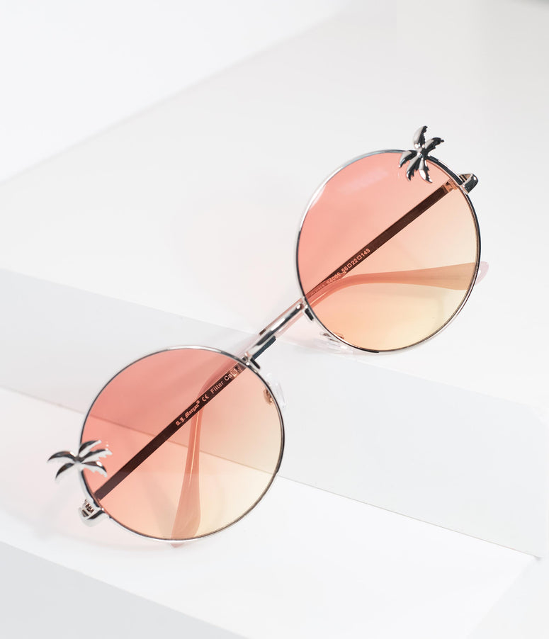 Silver & Pink Coconut Grove Rounded Sunglasses