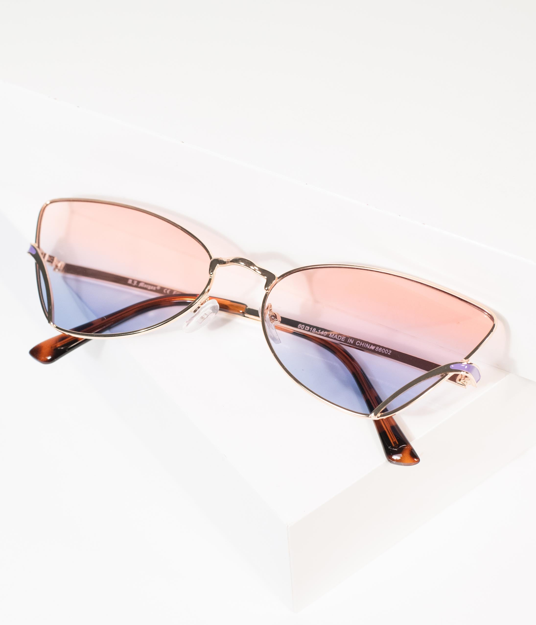 1950s Sunglasses & 50s Glasses | Retro Cat Eye Sunglasses Rose Gold  Purple Hot Rod Sue Cat Eye Sunglasses $24.00 AT vintagedancer.com