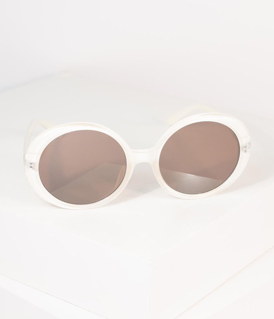 1960s Cream Round Romance Sunglasses
