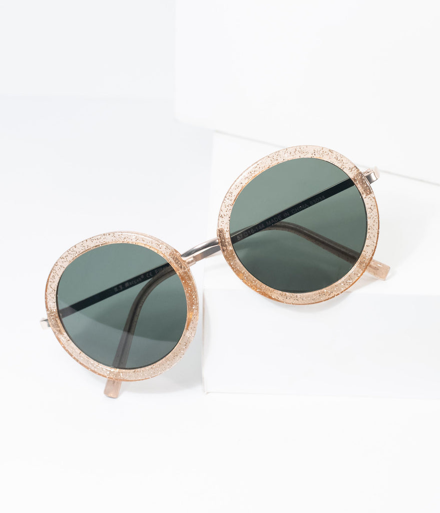 Gold Glitter Landed Round Sunglasses